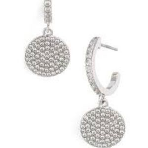 NWT Kate Spade Shine On Pave Silver Drop Earrings
